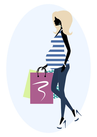 pregnant belly: Vector illustration of  Silhouette of a fashionable pregnant woman.