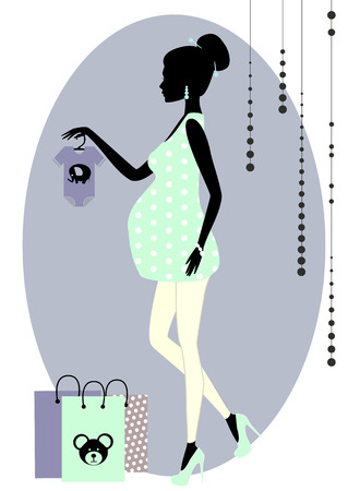 glamour shopping: Vector illustration of  Silhouette of a fashionable pregnant woman in a shop
