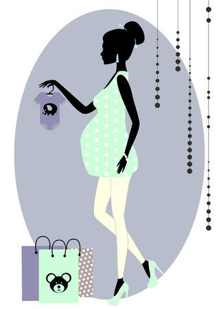 fiatal nők: Vektoros illusztráció árnykép, divatos terhes nő egy boltban