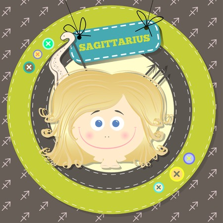 ascendant: Zodiac signs collection. Cute horoscope - SAGITTARIUS. Vector illustration. SET.