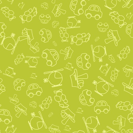 Seamless pattern with cartoon baby transport. vector illustration