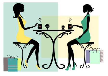 teatime: Silhouette of two fashionable shopping women, vector illustration.