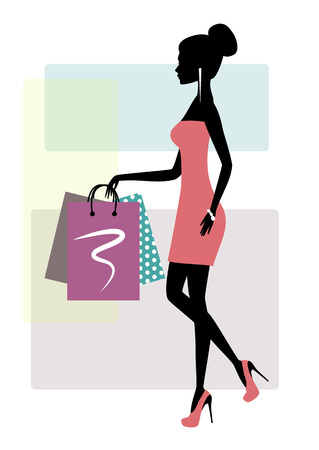 Silhouette of a fashionable shopping woman, vector illustration. Ilustracja