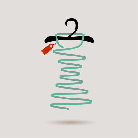 coathanger: a hanger and a dress, vector illustration.