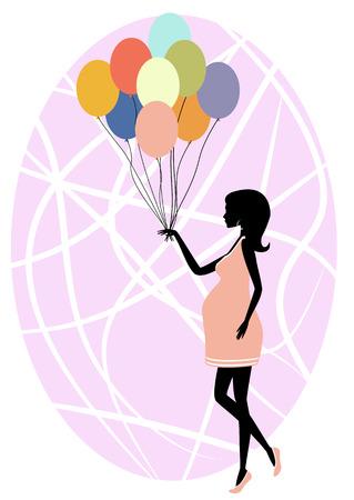 風船とファッショナブルな妊婦のシルエットのベクトル イラスト