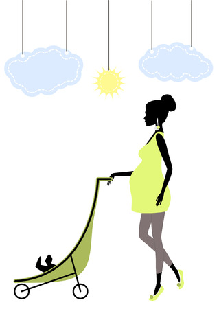 carriage: Vector illustration of Silhouette of a fashionable pregnant woman with baby carriage