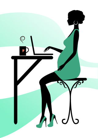 girl laptop: Silhouette of a fashionable pregnant woman, vector illustration