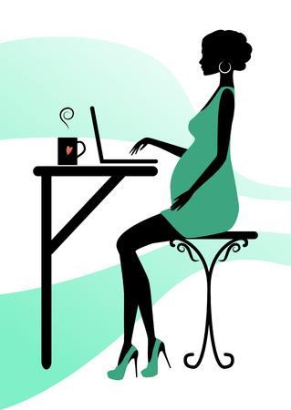 cafe internet: Silueta de una mujer, ilustración vectorial embarazada de moda