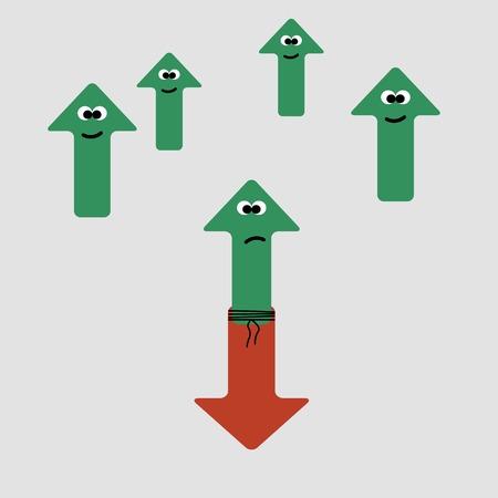 struggle: struggle up and down arrows, vector illustration.