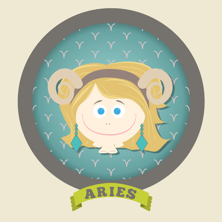 Zodiac signs collection. Cute horoscope - ARIES. Vector illustration. SET. Ilustracja