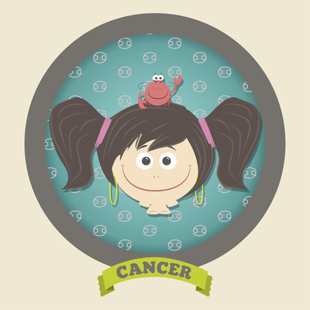 Zodiac signs collection. Cute horoscope - CANCER. Vector illustration. SET. Vector