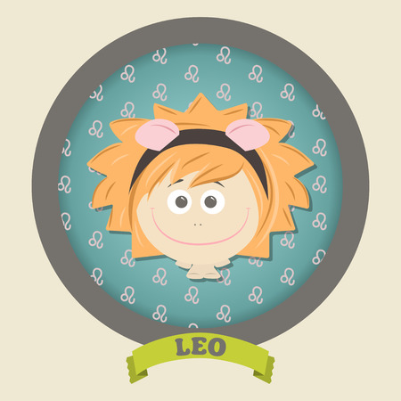 Zodiac signs collection. Cute horoscope - LEO. Vector illustration. SET.