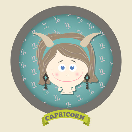 Zodiac signs collection. Cute horoscope - capricorn. Vector illustration. SET. Ilustracja