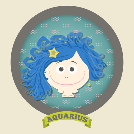 Zodiac signs collection.Cute horoscope - aquarius. Vector illustration. SET. Ilustracja
