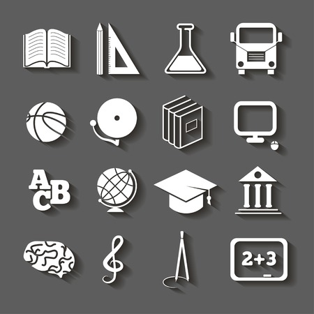 Education Icons, school icons with shadow on gray background.