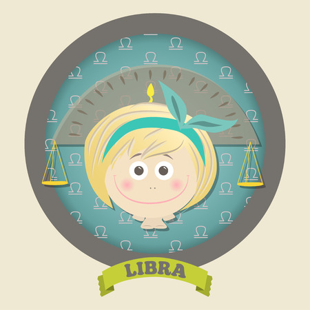 Zodiac signs collection. Cute horoscope - LIBRA. Vector illustration. SET. Ilustracja