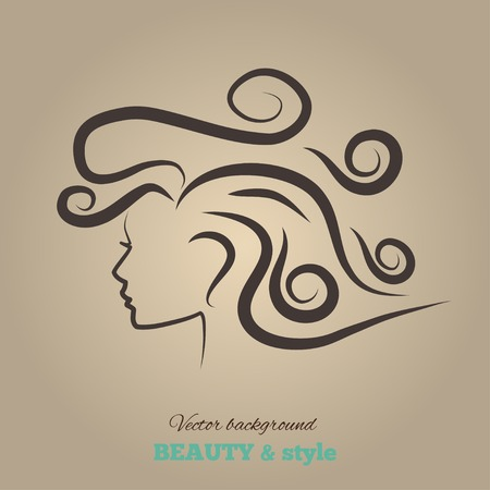 Female heads with beautiful hair. vector illustration. Vector