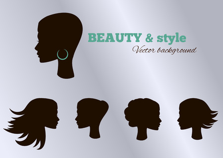 Female heads with beautiful hair. Vector illustration
