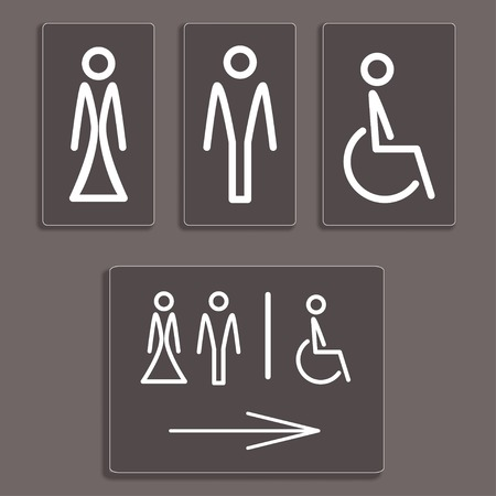 Vector Man, Woman and invalid one, restroom, toilette symbol Illustration