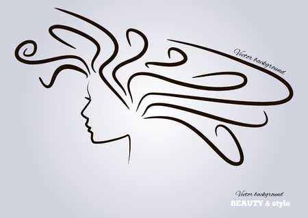 Female heads with beautiful hair. vector illustration.