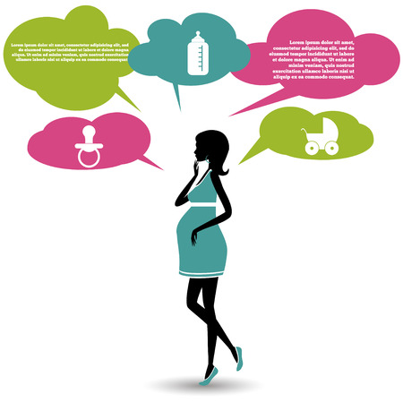 Silhouette of a pregnant woman with speech bubbles.