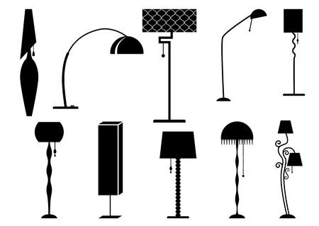 lampada: Set di silhouette lampada e lampadario Vettoriali