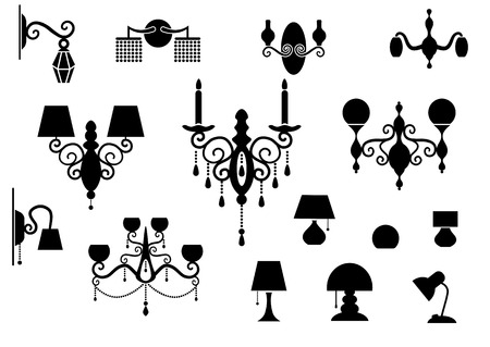 sconce: Sets of silhouette Lamp and Chandelier