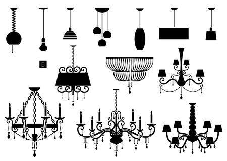 lampshade: Sets of silhouette Chandelier and lamp Illustration