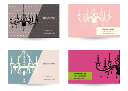 set of Business card template with retro chandelier Vector