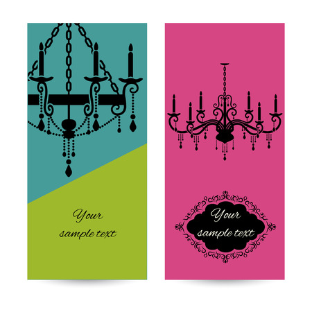 Business card template with chandelier, leaflet