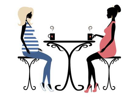 friends eating: Silhouette of two fashionable pregnant women Illustration