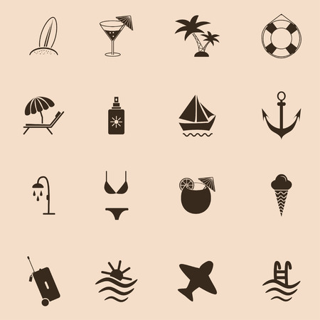 Set of travel and beach Icons Ilustracja