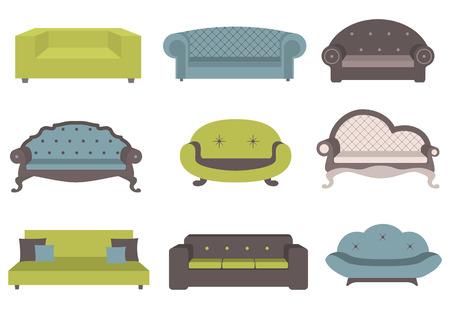 Set mit bunten Sofa