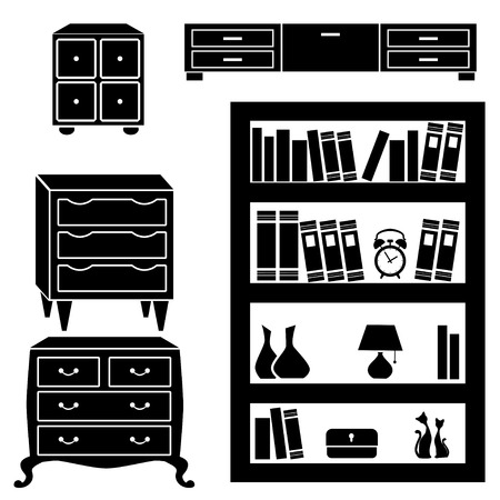 chest of drawers: Set silhouettes of cupboard, chests and bookshelf  Illustration
