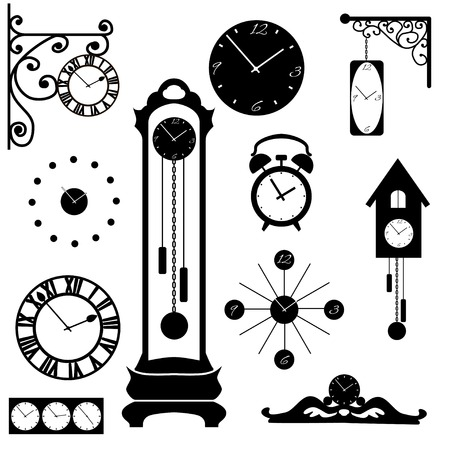 clock and watch collection, black interior element Illustration