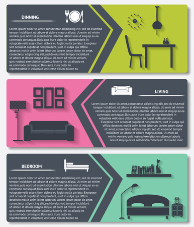 interior design: info graphic of house interior vector banners