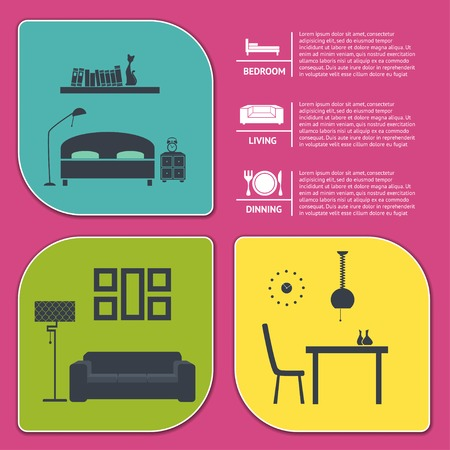 info graphic of house interior vector banners Vector