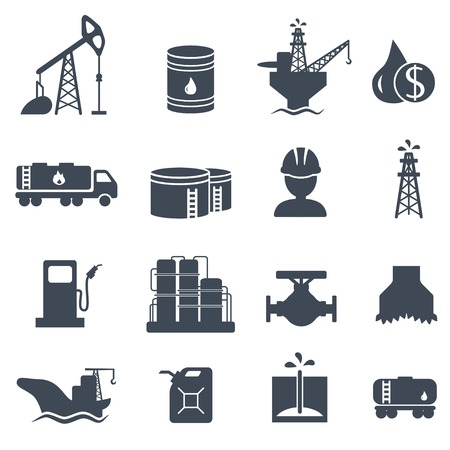 derrick: Set of oil and gas grey icons Petroleum industry