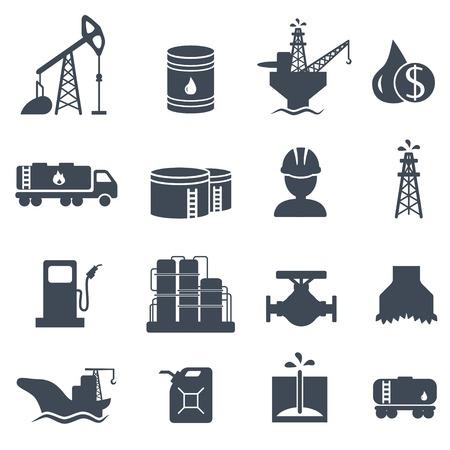 Set van olie en gas grijze pictogrammen Aardolie-industrie