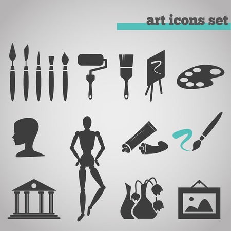 art supplies: icons set of art supplies for painting