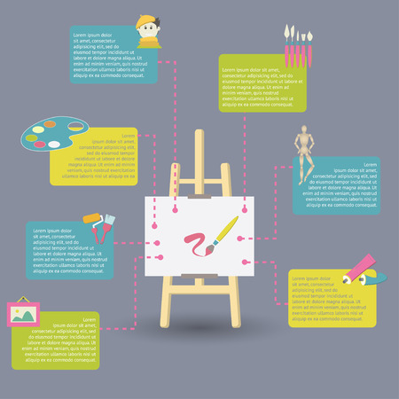 art supplies: infographic of art supplies for painting Illustration