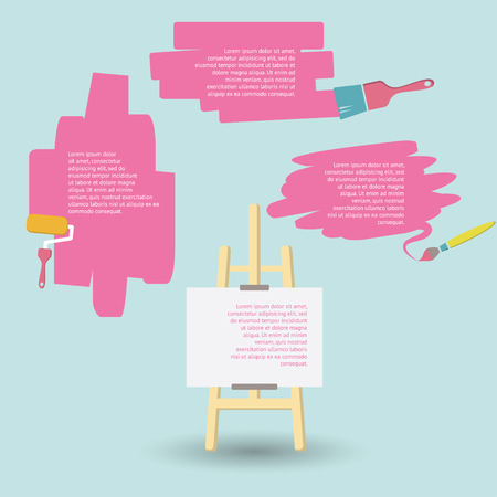 Space for your text design Paint brushes and easel Illustration