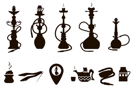 hooka: hookah icons black set with accessories isolated vector illustration