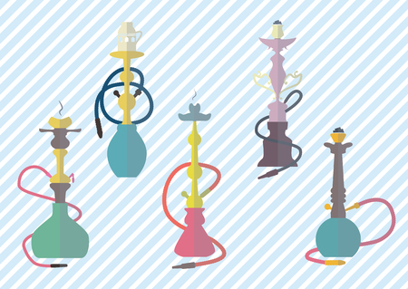 hookah: hookah icons and simbols colorful set vector illustration. Illustration