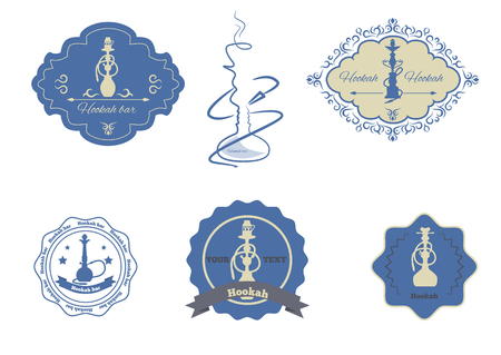 hooka: collection hookah emblems set isolated vector illustration.