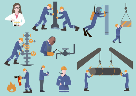 drilling well: oilman, gasman or oil and gas industry worker on production vector illustration Illustration