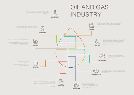 Oil and gas industry infographic vector illustration parts of drop.