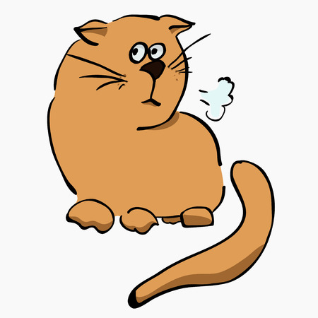 traits: Little unhappy light brown cat, hand-drawn in a cartoon style Illustration