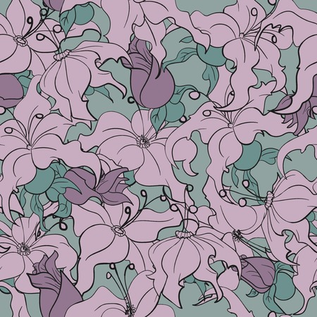 voilet: Seamless pattern with continuous purple flowers on a green background Illustration