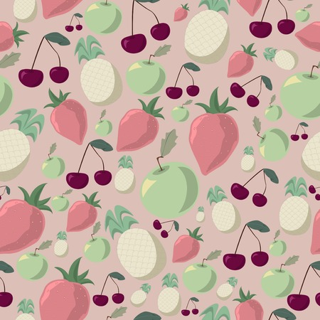 pastel shades: Seamless pattern of halftone fruits in pastel shades